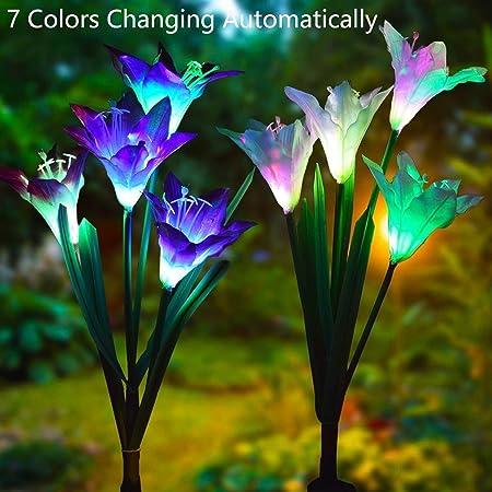 Luces De Estaca De Jardín Solar Al Aire Libre,Paquete De 2 Luces Solares con 8
