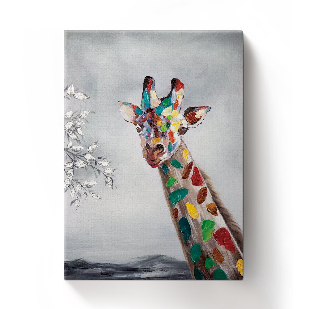 Libaoge Hand Painted Colorful Animal Cute Giraffe Oil Painting Canvas Wall Art with Wood Frame, Modern Home Wall Decoration Artwork Ready to Hang