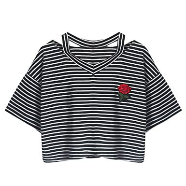 d512cf350d28a Ulanda-EU Womens Crop Tops Ladies Summer Tops Teens Short Sleeve Rose  Embroidered Striped T Shirts Casual Loose Blouse Short Clothes for Teen  Girls Women ...