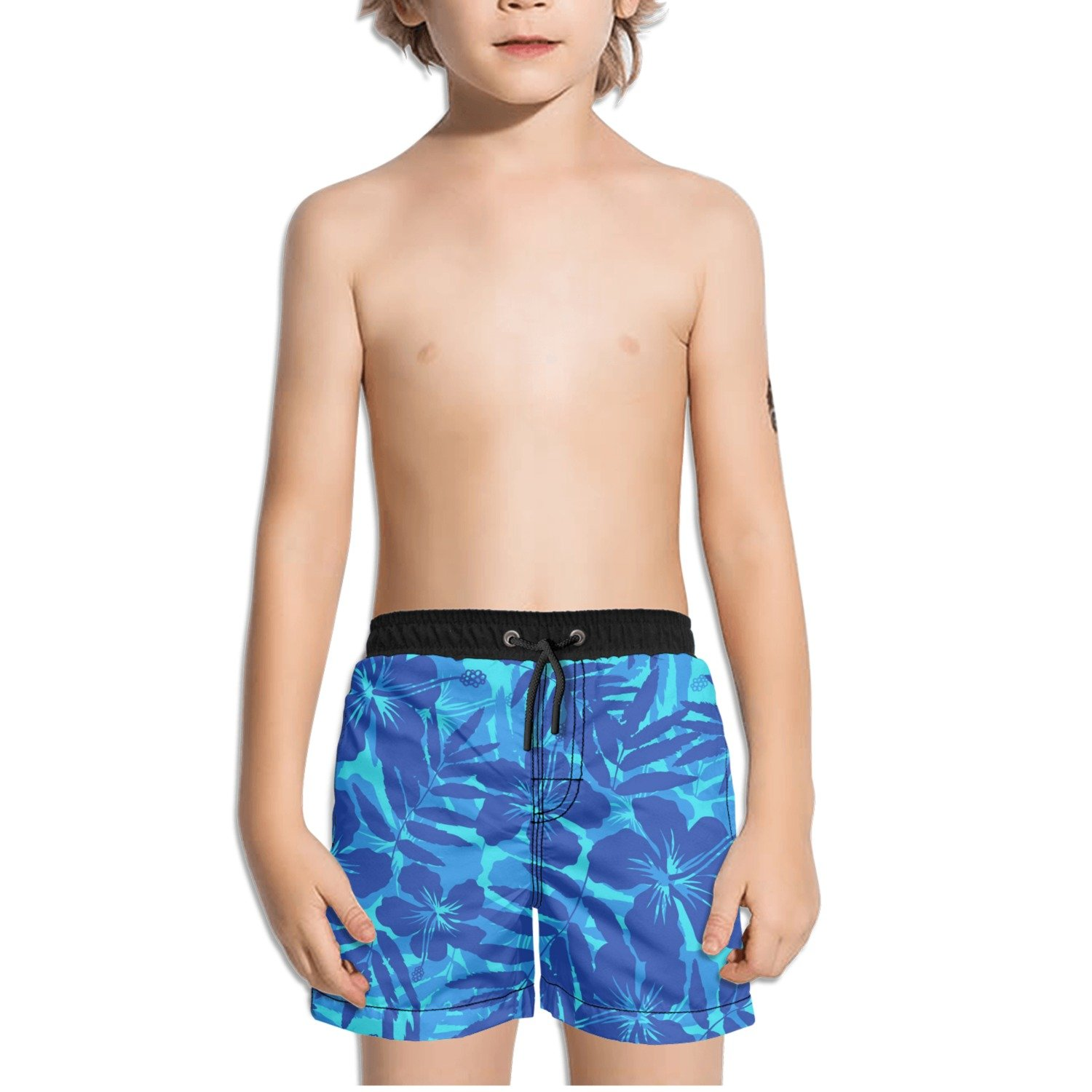 Ouxioaz Boys' Swim Trunk Blue Tropical Flowers Beach Board Shorts