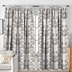 """NUOMANAN Sheer Curtains Taupe,Rococo Style Flourishing Flowers Imperial Pattern Old Fashioned Classy Tile Delicate,Taupe White,Decor Collection Thermal/Room Darkening Window Curtains 84""""x84"""""""
