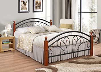 Metal Bed Frame With Oak Legs Double Bed 7 Star Furniture Dirty Oak