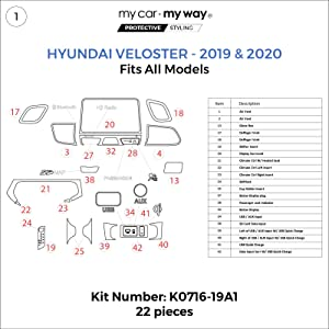 MY CAR MY WAY (Fits) Hyundai Veloster 2019-2020 Dash Kit: W/Quick Charge Button - 22 Pieces