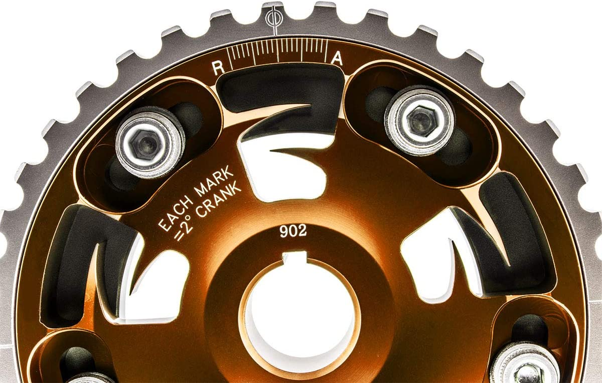 VMS RACING Adjustable Fang CAM GEAR in PURPLE Anodized Machined CNC Billet Aluminum Compatible with Honda Civic D15 D16 1.5L 1.6L SOHC 96-00 1996-2002