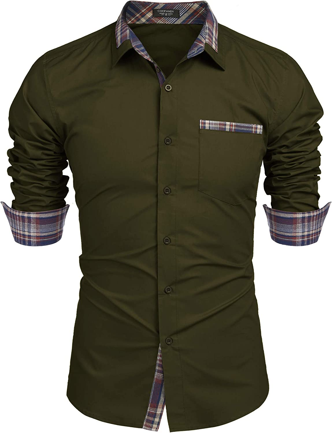 Stylish Mens Luxury Long Sleeve Casual And Formal Shirt Slim Fit Green Shirt