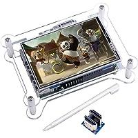 Kuman Ecran Tactile TFT, Moniteur Ecran LCD TFT 3.5 Pouces avec Support Etui de Protection Tout Système Raspberry PI, Emetteur Video Movie, Jeu Arcade, Entrée Audio HDMI (3.5HDMI LCD + Etui)