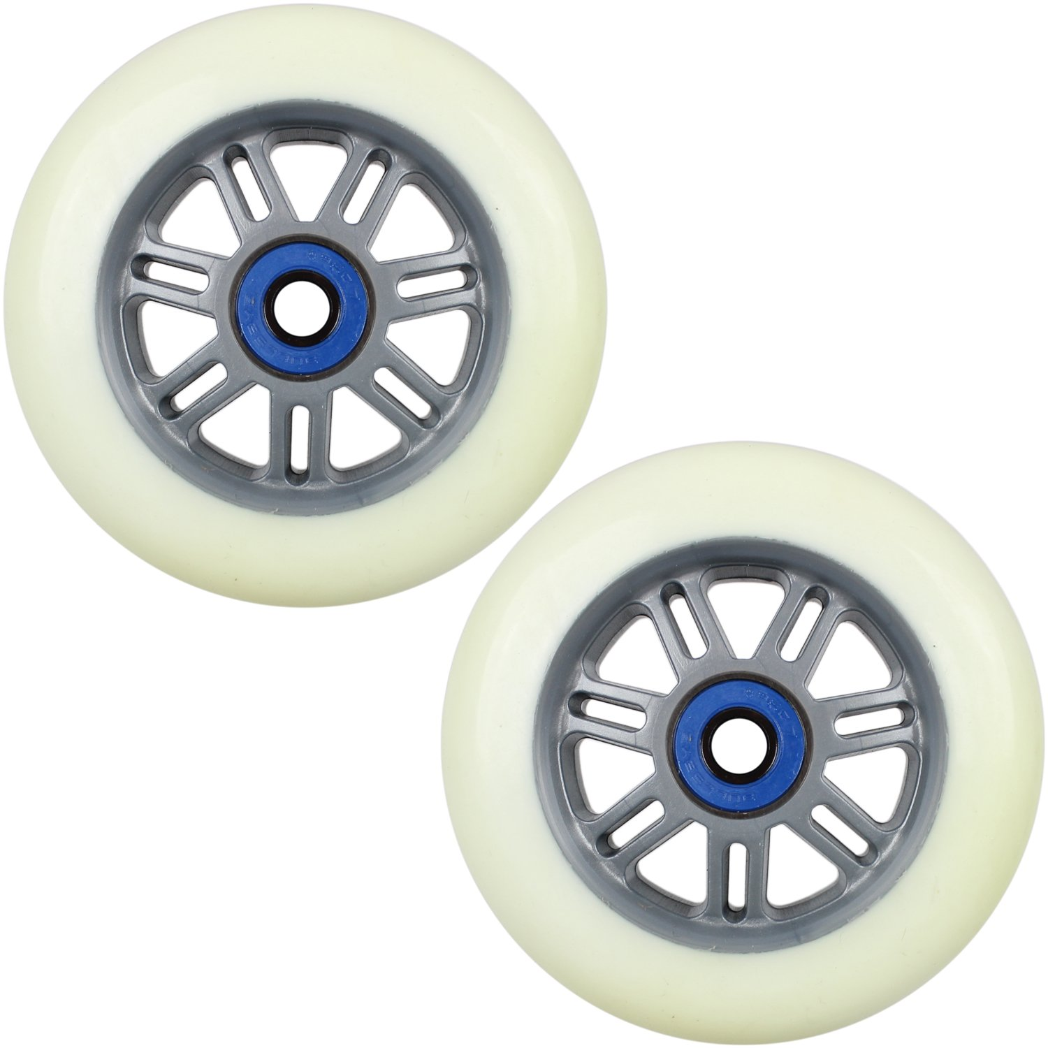 Kick Push This listing is for a set of two Razor Scooter wheels. Here is the White/Grey model from The size is 100mm with a durometer of 90a. Bearings are included.