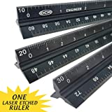 OCM 1 Laser Etched Engineer - 12 Inch Anodized Triangular Engineer Imperial Scale Ruler (Proffesional Grade Solid Extruded Aluminum) Imperial Scale Civil Engineering Architectural Drafting Ruler