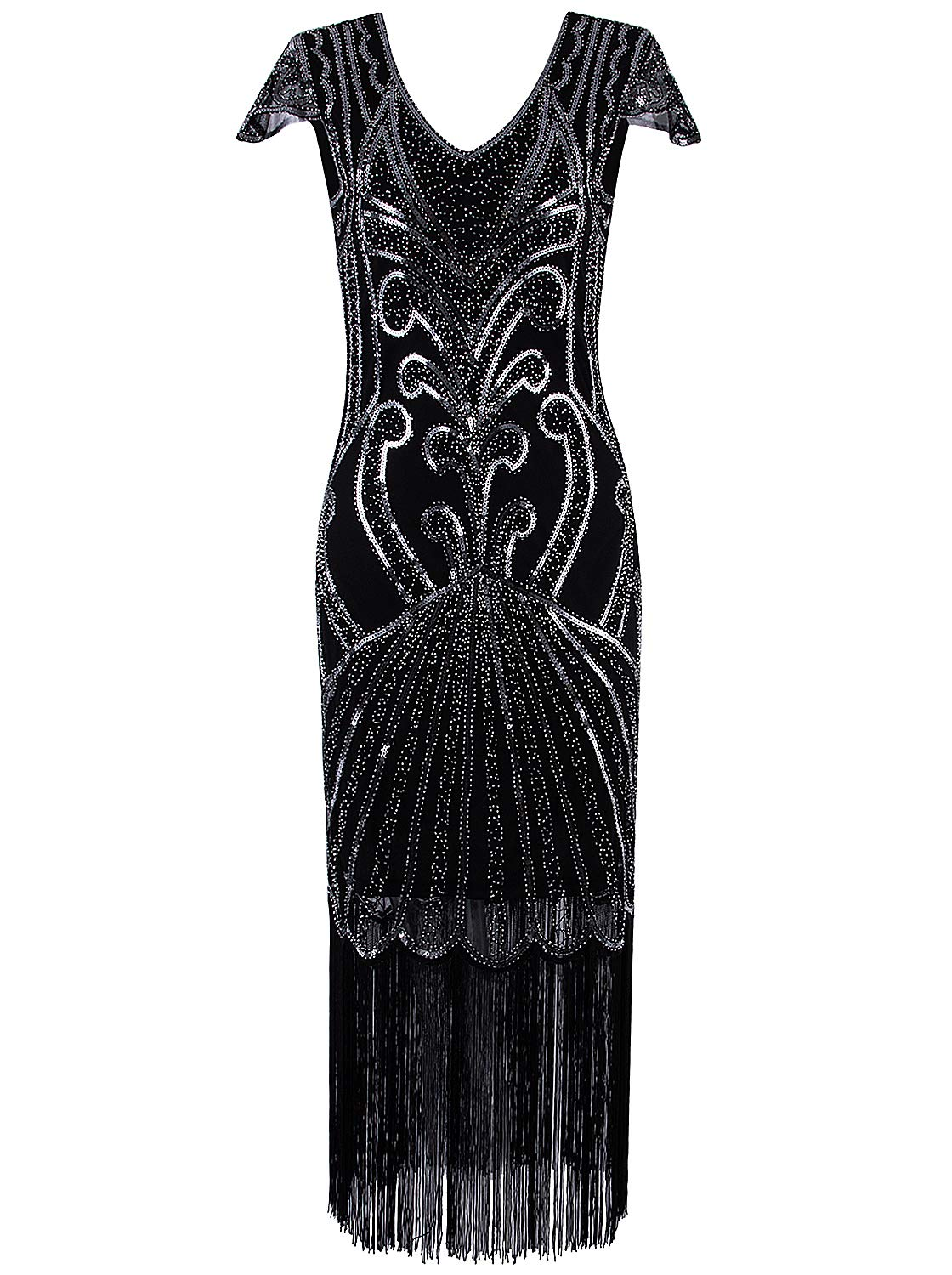 VIJIV Long 1920 Vintage Gatsby Beaded Embellished Fringe Cocktail Flapper Dress Black Silver by VIJIV