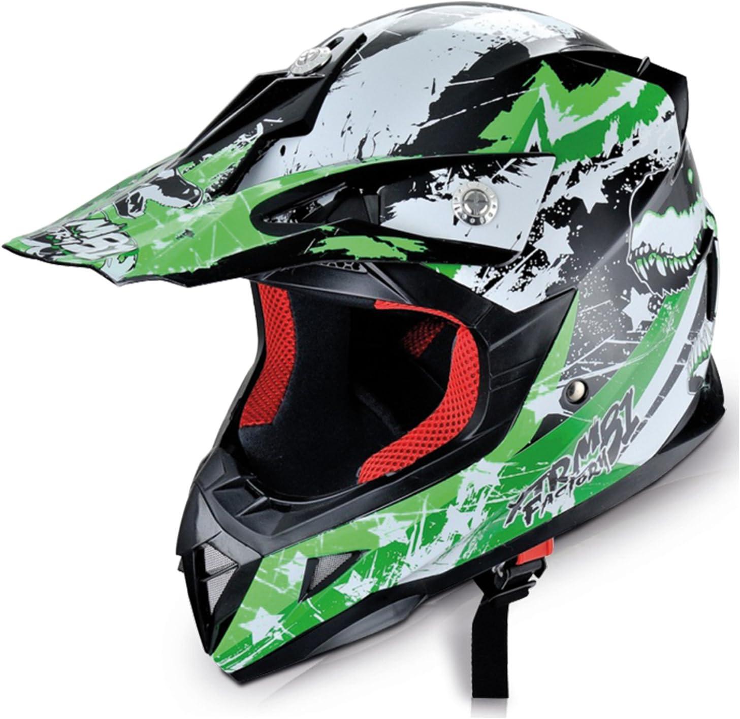 L Hecht Motocrosshelm 54915 Motorrad-Helm Enduro ABS Quadhelm , gr/ün//schwarz//wei/ß 59-60 cm