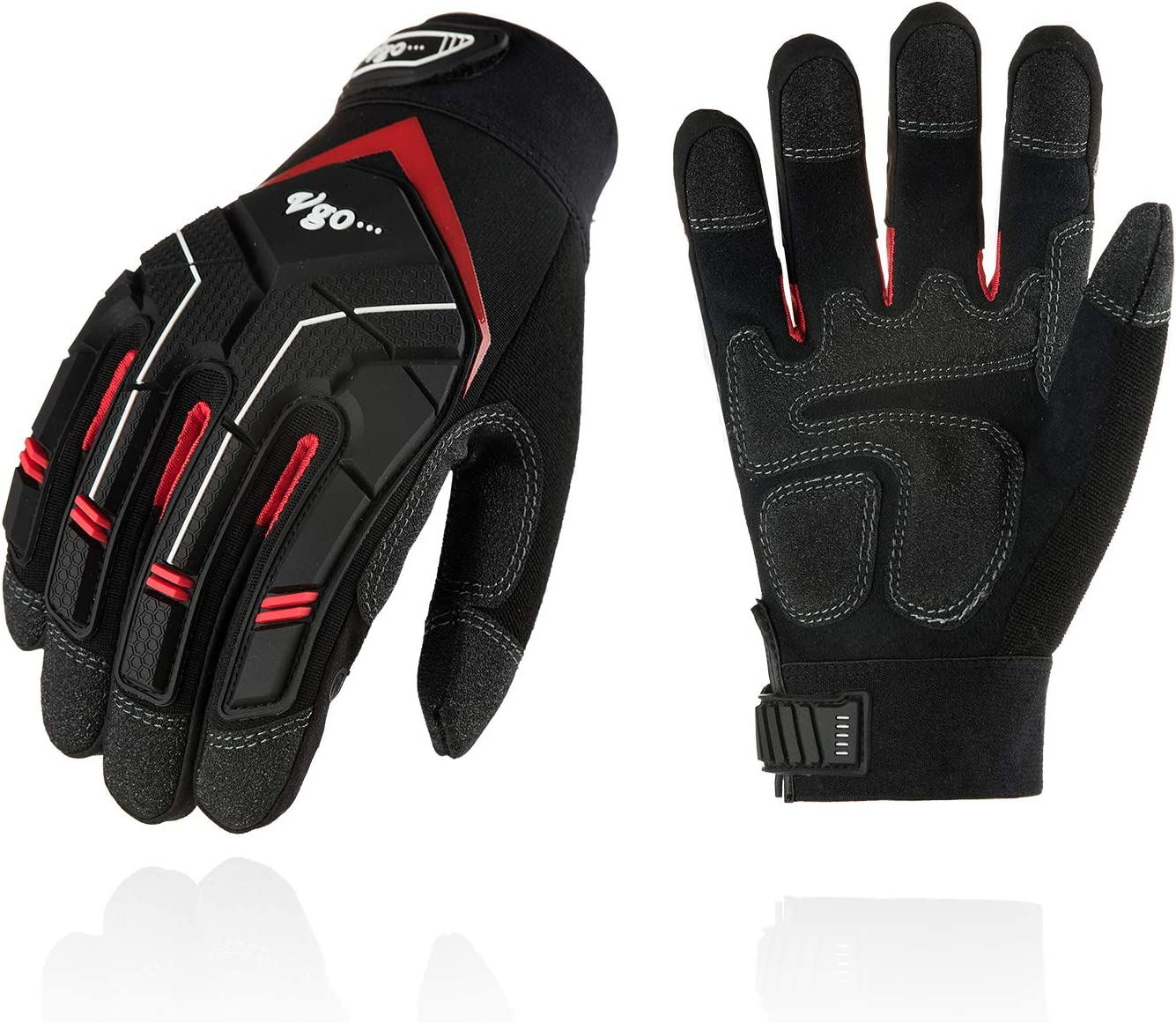 Vgo 1Pair//3Pairs Synthetic Leather Work Gloves Heavy Duty Mechanic Gloves SL9722