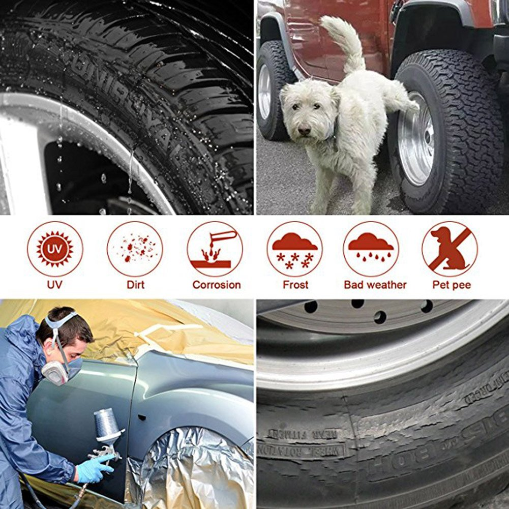 Universal Fit 24-26 Inch Tire Diameter Sun Rain Snow UV Protection GUNHYI Rv Trailer Tire Cover Set of 4 Four Layers Leather Grain Camper Motorhome Truck Wheel Cover