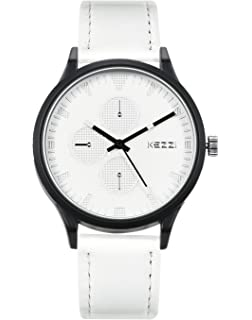 WUTAN Watches for Men Casual with Decorative Dials White Leather Strap Fashion Business Watch