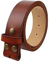"Senmi Mens 100% Genuine Full Grain Leather Belt One Piece Snap On Belt Strap Classic Vintage Style 1.5"" (38mm) Wide"