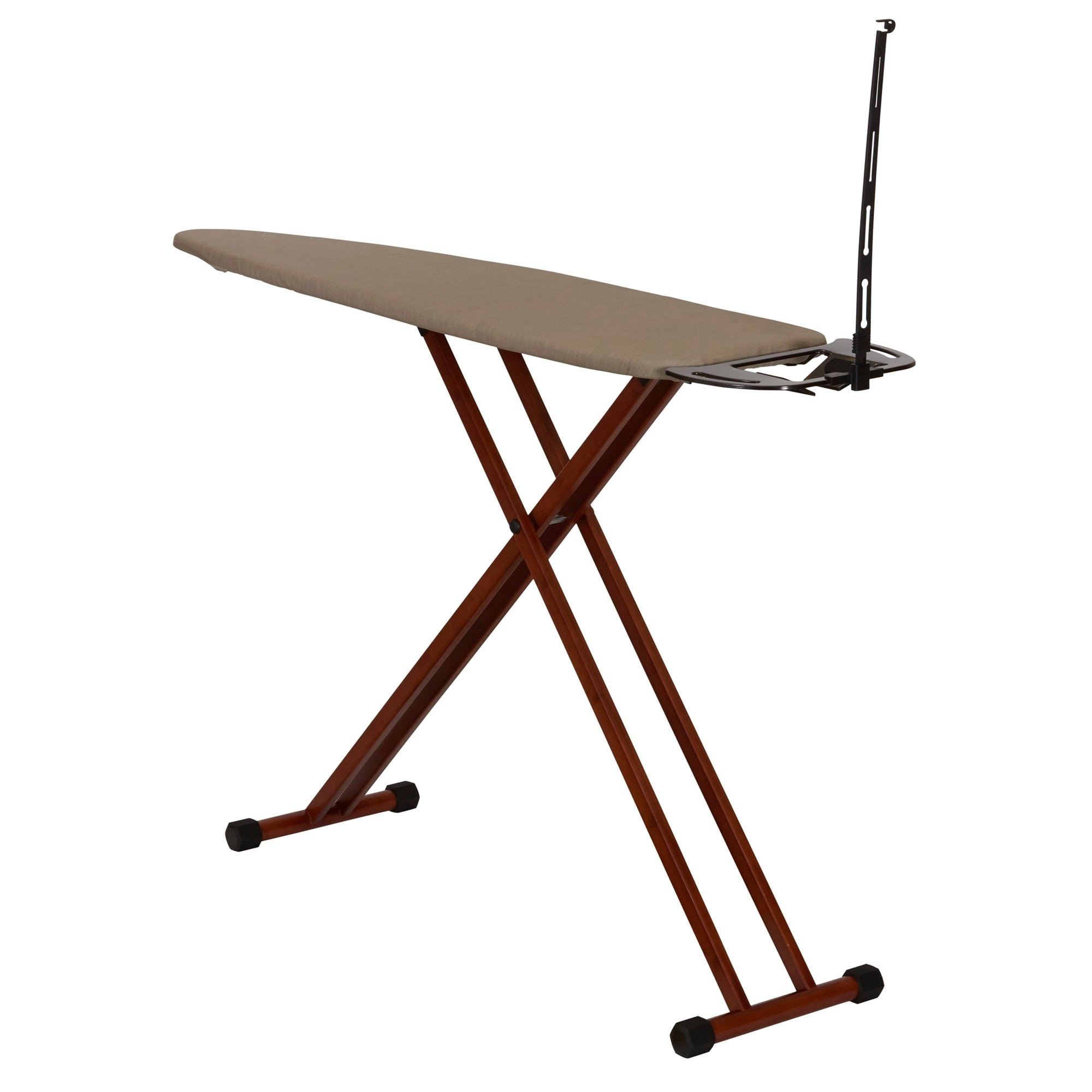MattsGlobal Bamboo Leg Ironing Board with Iron Rest Cotton Wood Free Standing Iron Holder Dark Frame