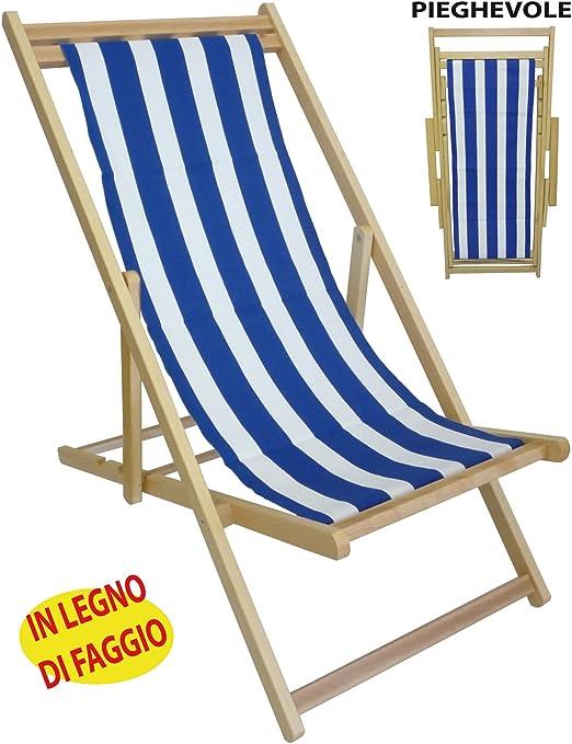 Sdraio Da Spiaggia Legno.Sedia Sdraio Prendisole In Legno Tela A Righe Bianca Blu Per