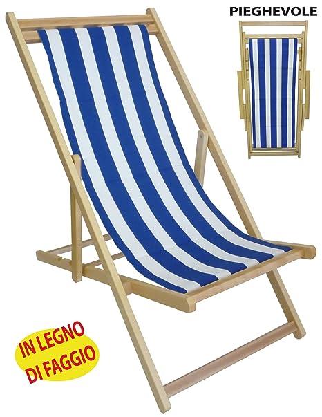 Sedia Sdraio Prendisole Legno.Sedia Sdraio Prendisole In Legno Tela A Righe Bianca Blu Per Spiaggia Campeggio Piscina Da Mare