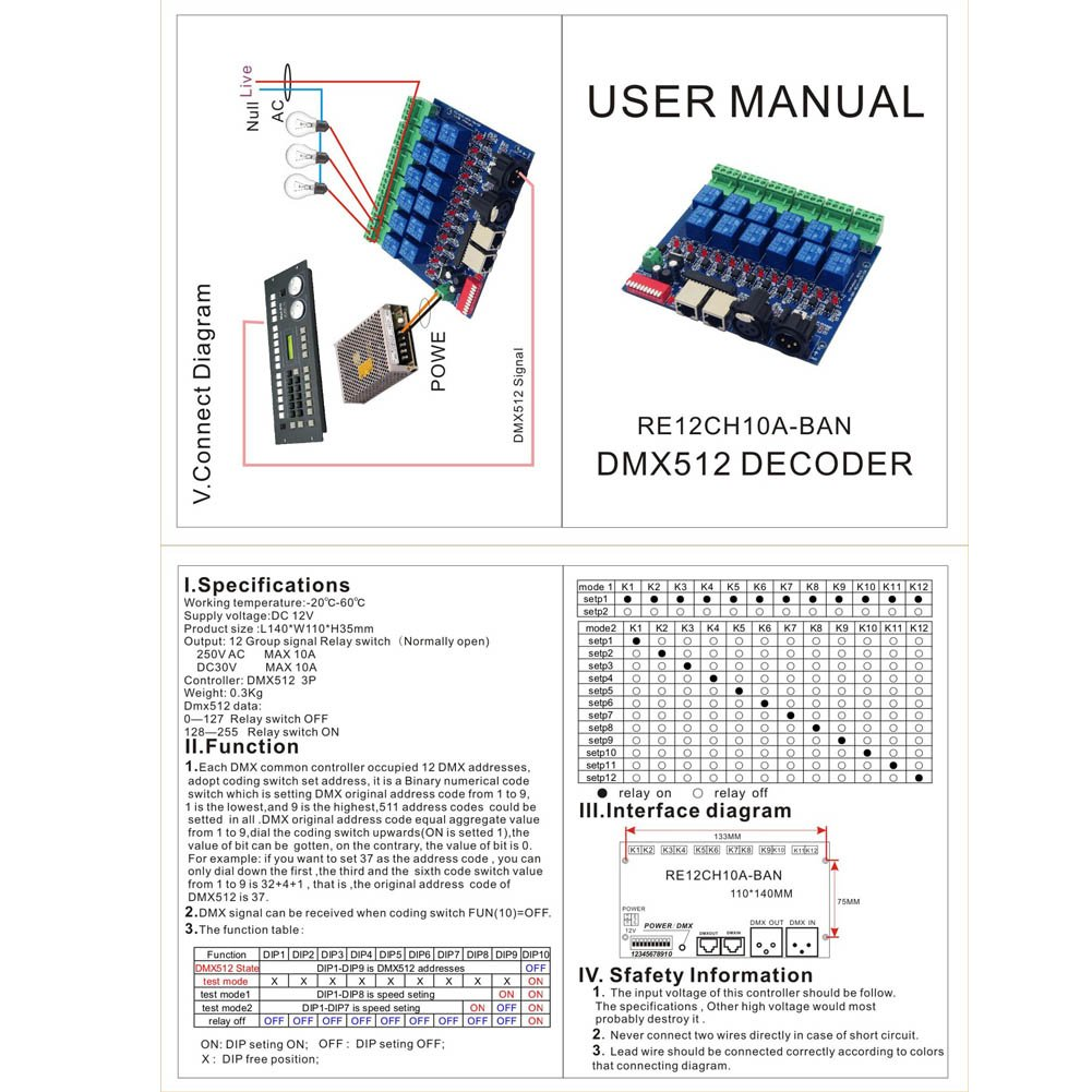 Xlpace 12 Way Relay Switch Dmx512 Controller Rj45 Xlr K7 Wiring Diagram Output Control 12ch Switchmax 10a For Led Home Audio Theater