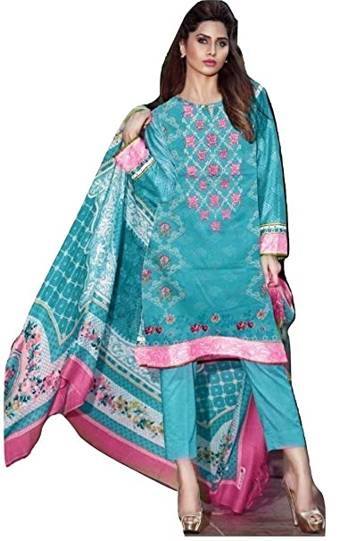 dc196d06a9 Huma Nasheed€™s Paki, Lawn Suit, Printed & Digital Embroidered 100% Cotton  Ladies Dress Materials with Chiffon Dupatta (Ocean Blue Color): Amazon.in:  ...
