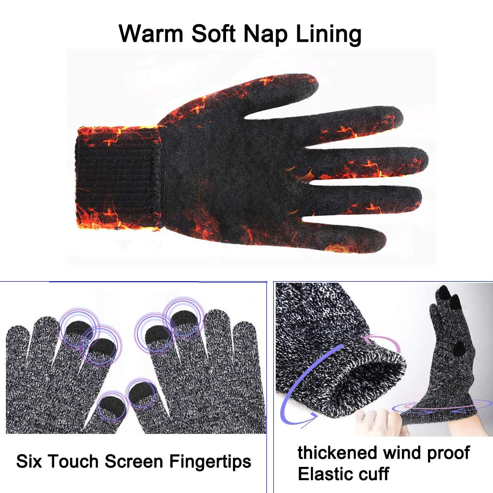 CFTech Winter Gloves Touch Screen Cold Weather Knit Glove for Men and Women - Thermal Soft Wool Lining - Stretchy Material (Gray)