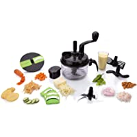 OM STAR 7-in-1 Plastic Manual Turbo Dual Speed with Vacuum Base Food Processor (Green)