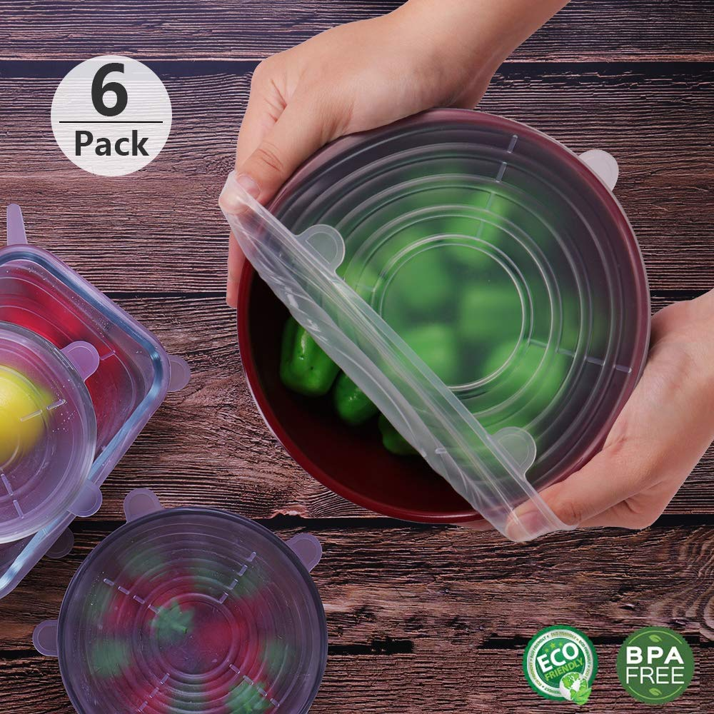 6-Pack Various of Sizes Reusable Silicone Lids for Bowl Safe in Dishwasher Jar and Glassware Stretch Lids BPA Free /& Eco-friendly BEAUTLOHAS Microwave and Freezer Can