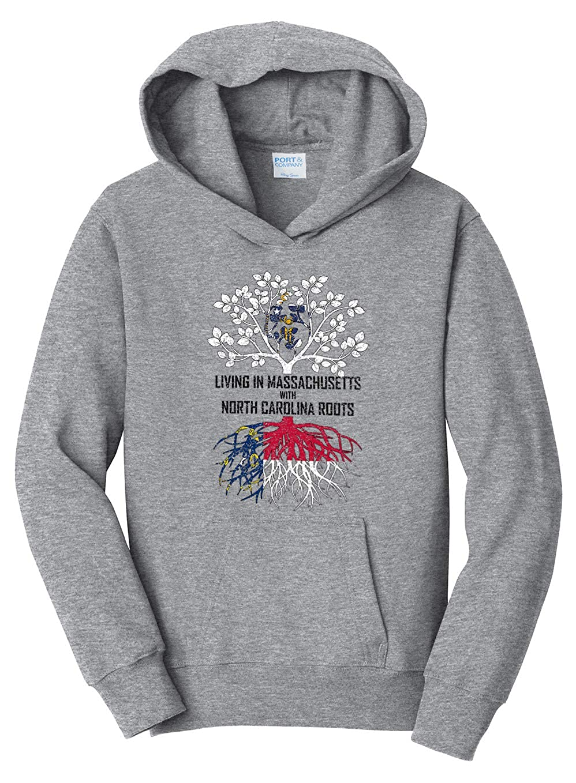 Tenacitee Girls Living in Massachusetts with North Carolina Roots Hooded Sweatshirt