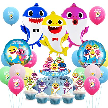 Baby Shark Party Decoration Supplies Baby Shark Balloons Cake Topper Cupcake Picks Decor for Kids Birthday Party Baby Shower