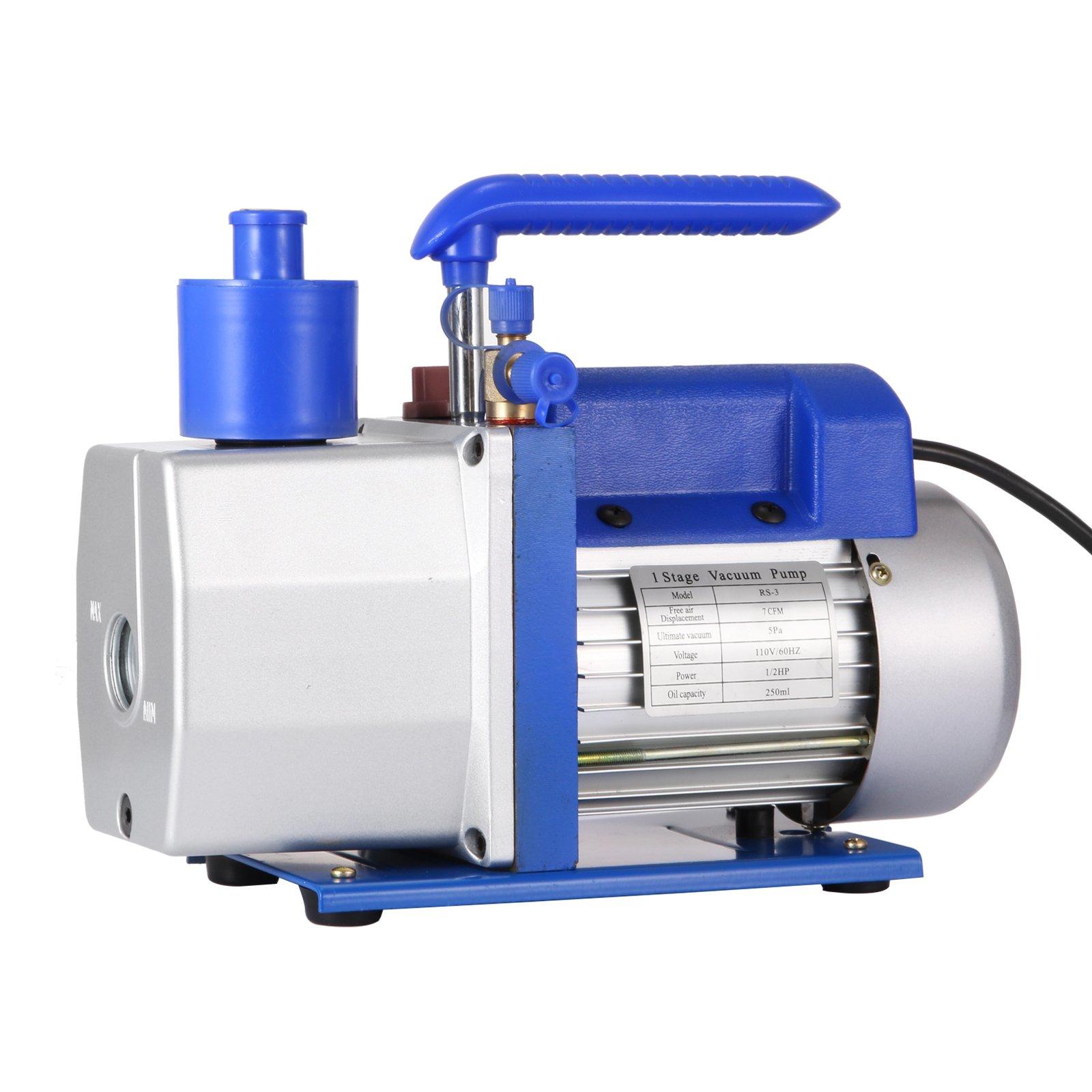 Mophorn Vacuum Pump HVAC 7 CFM 1/2HP Single Stage Vacuum Pump Refrigeration AC Air Conditioning Refrigerant Vacuum Evacuation Pump (7CFM, 1-Stage)