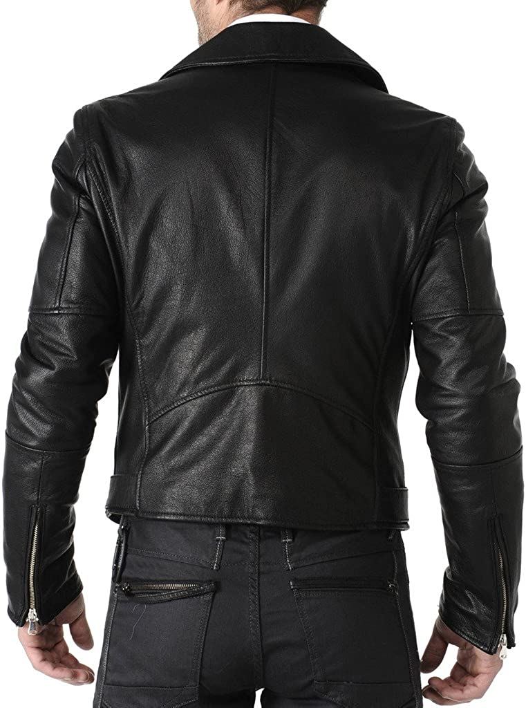 Mens Leather Motorcycle Slim Fit Jackets LF003