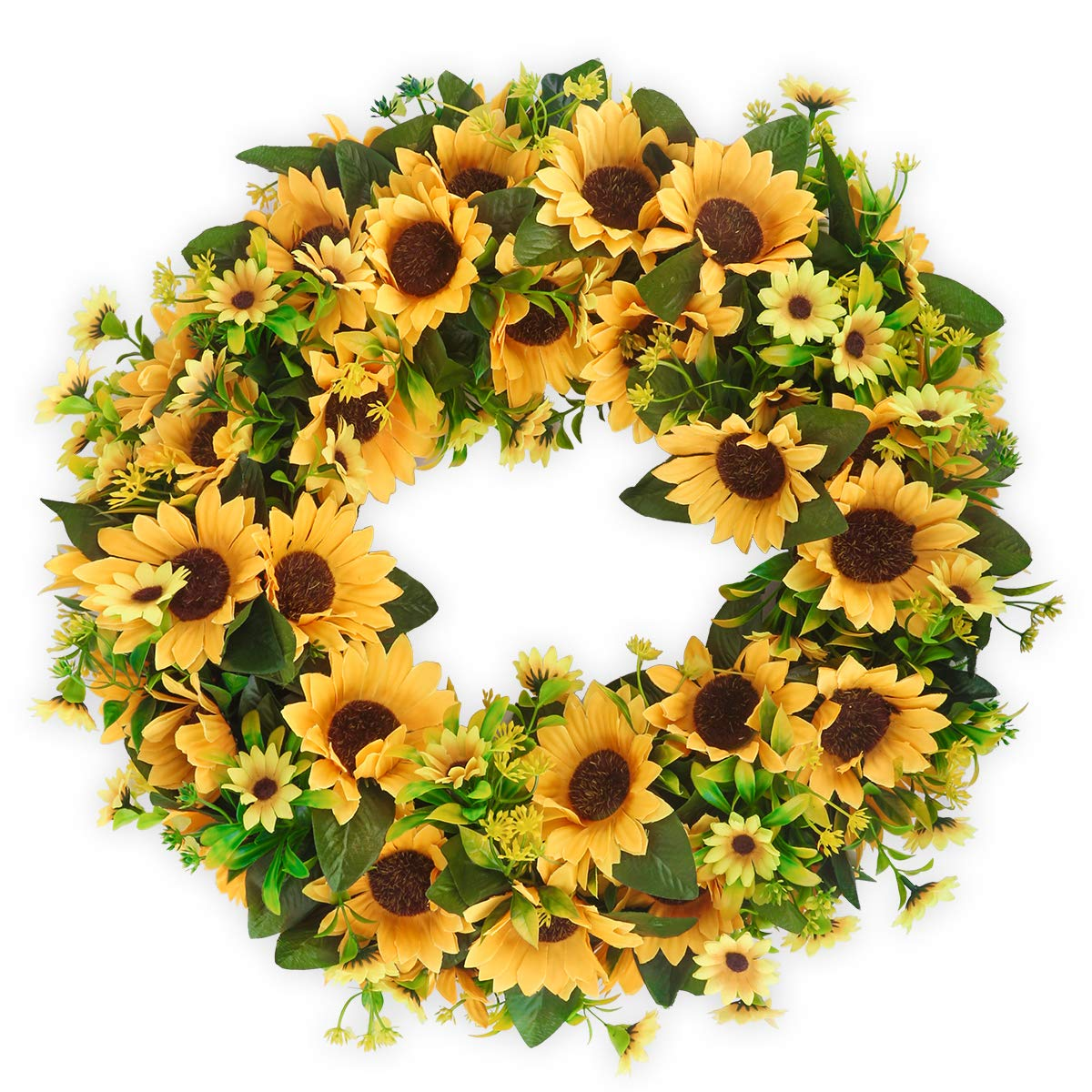BOMAROLAN Artificial Sunflower Wreath 20 Inch Summer Fall Large Wreaths Springtime All Year Around Flower Green Leaves for Outdoor Front Door Indoor Wall Or Window Décor by BOMAROLAN