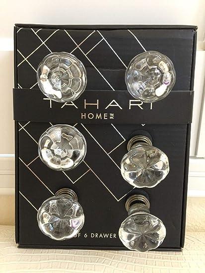 6 TAHARI Vintage Crystal Clear Glass Cabinet Knobs Flower Drawer Pulls