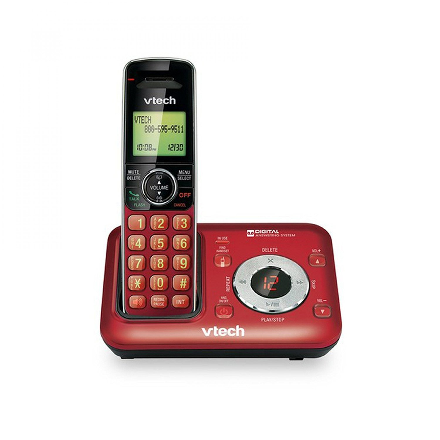 VTech CS6429-16 DECT 6.0 Cordless Phone with Digital Answering System and Caller ID, Expandable up to 5 Handsets, Wall Mountable, Red