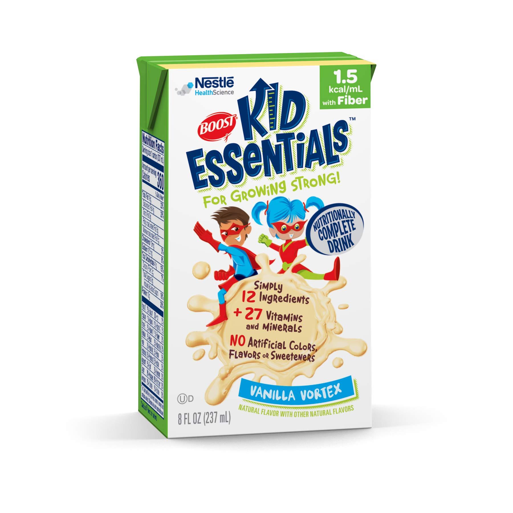 Boost Kid Essentials 1.5 Nutritionally Complete Drink, Vanilla Vortex, 8 Ounce, Pack of 27 by Boost Kids Essentials