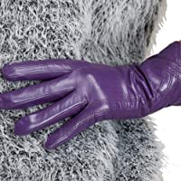 Nappaglo Nappa Leather Gloves Warm Lining Winter Handmade Curve Imported Leather Lambskin Gloves for Women (M Purple)
