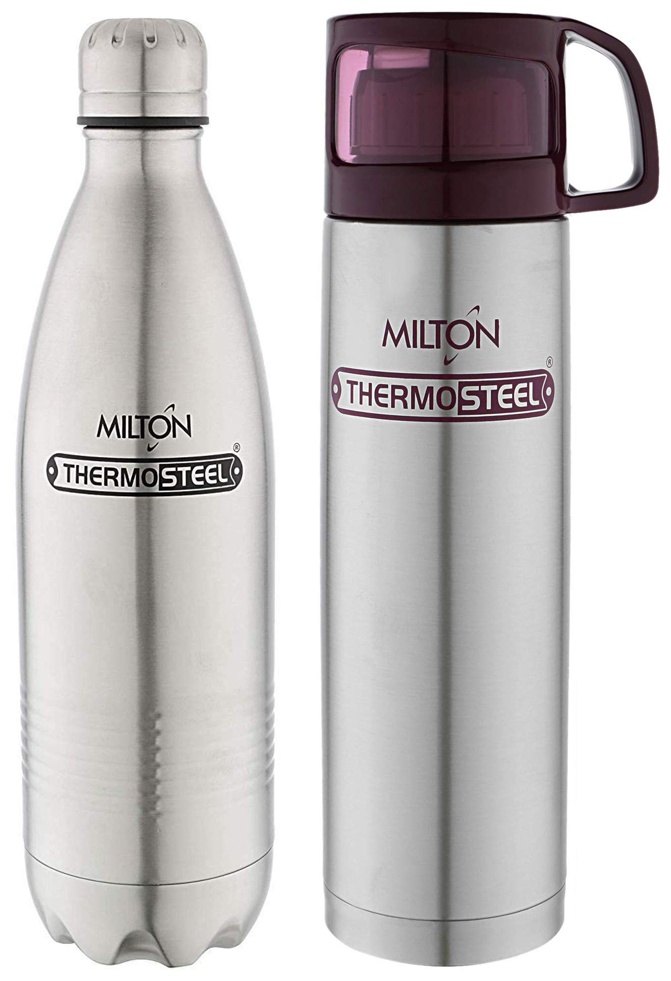 Milton Glassy Flask 1000ml Vaccum Flasks - Purple & Thermosteel Duo Deluxe-1000 Bottle Style Vacuum Flask, 1 Litre, Silver Combo