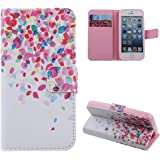 Sinbury PU Leather Wallet Stand Flip Case Cover for iPhone 5 / 5S - Beautiful Flowers