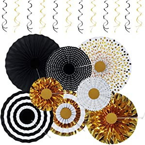 KIMHY Black and Gold Birthday Party Decorations, 2020 Premium Birthday Decro with Fans & Swirls for Man, Woman, Kids' Birthday, Graduation, Christmas, Halloween, Thanksgiving Days, New Year Party