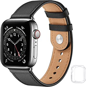 Leather Band Compatible with Apple Watch Bands 44mm 42mm 40mm 38mm, Genuine Soft Leather Replacement Wristband Strap for Men Women for iWatch SE Series 6 5 4 3 2 1(Black/Silver,42MM 44MM)