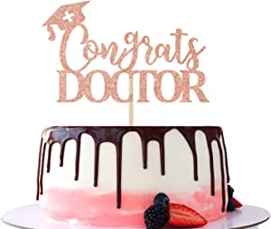 Congrats Doctor Cake Topper - Class of 2021 Congrats Grad, Medical School Doctor Themed Graduation Party Cake Decorations Supplies Rose Gold Glitter