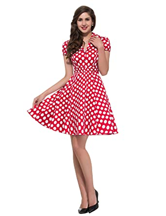 f45d97d3ab1e 50s Vintage Cotton Rockabilly Cape Sleeve A Line Swing Party Dresses  CL6089-2 M