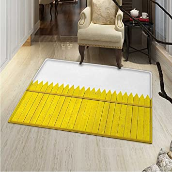 Amazon Com Yellow Area Silky Smooth Rugs Colorful Wooden Picket