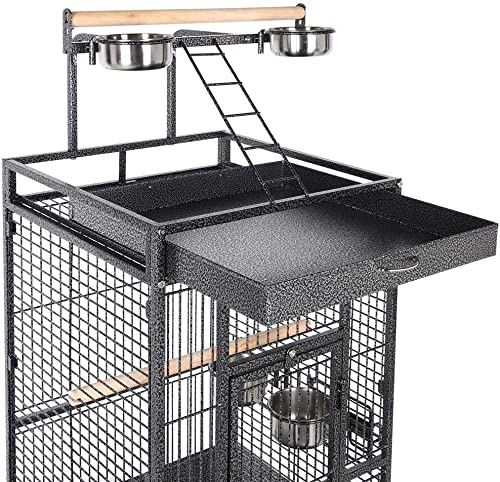 Topeakmart Wrought Iron Selection Play Top Large Parrot Bird Cage