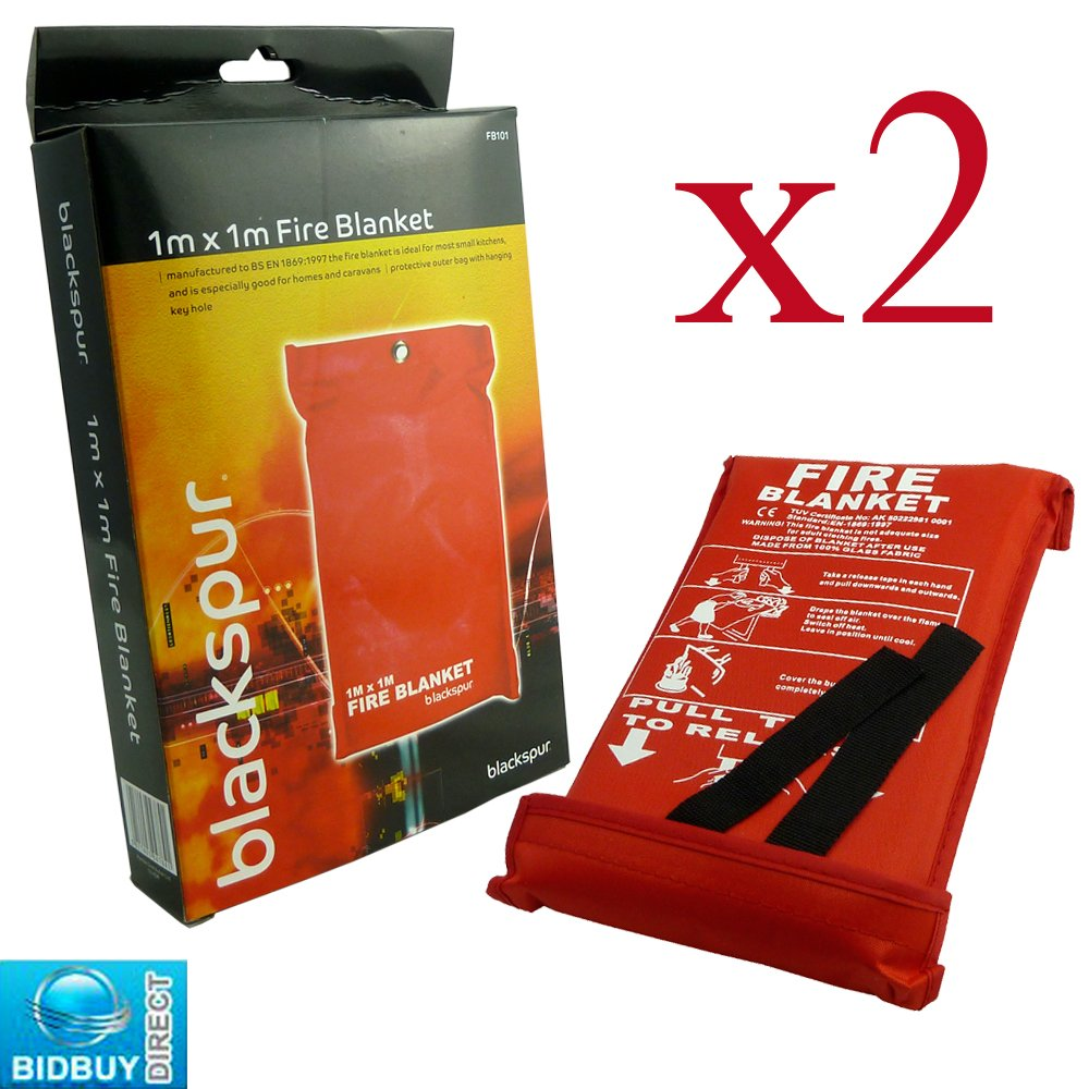 2 FIRE BLANKETS - 1M x 1M - IDEAL FOR KITCHENS, HOMES & CARAVANS Bid Buy Direct