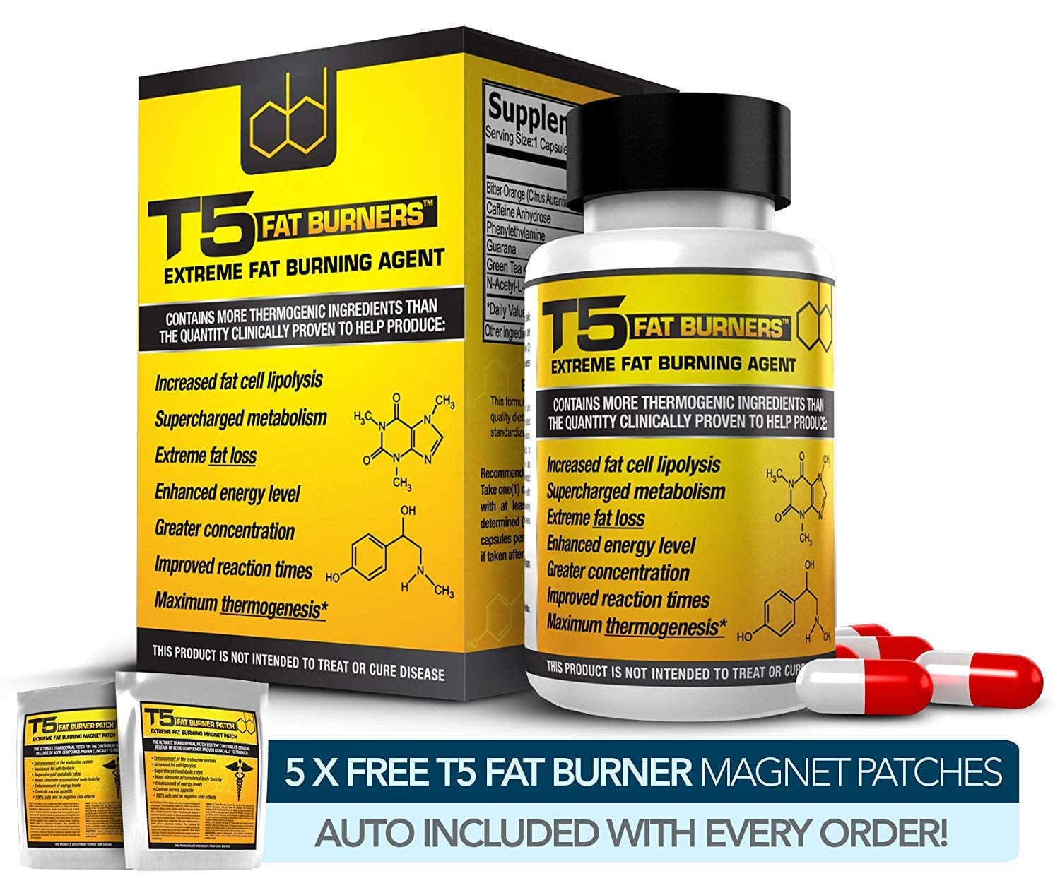 Fat Burners Strongest Legal Diet Weight Loss Pills 1 Month Supply 5 Free T5 Fat Burning Patches
