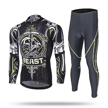 XINTOWN Jersey de la bici del Mens del invierno del otoño y 3D calcetines acolchados de