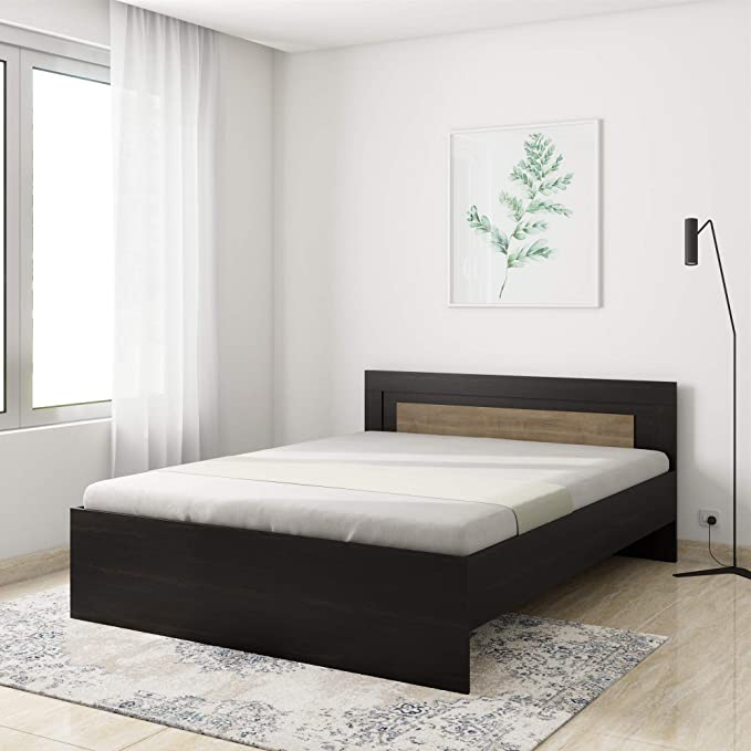 Amazon Brand   Solimo Aquilla Engineered Wood Wenge Finish Queen Bed  Brown  Beds, Bedside tables   Wardrobes and more