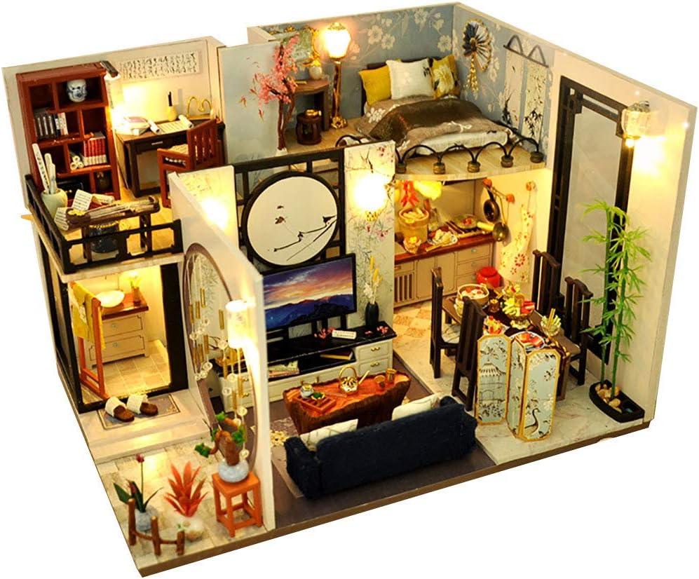 WARMWORD Casa De Muñecas De Madera De Bricolaje Casa De Artesanía En Miniatura Dollhouse Miniature DIY House Kit Handmade Assembly Model Habitación Creativa con Muebles, con luz