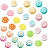 28 Pieces Soft Silicone Thumb Grip Caps Replacement Flower and Fruit Design Thumb Cover Analog Stick Cover Joystick Cap Compa