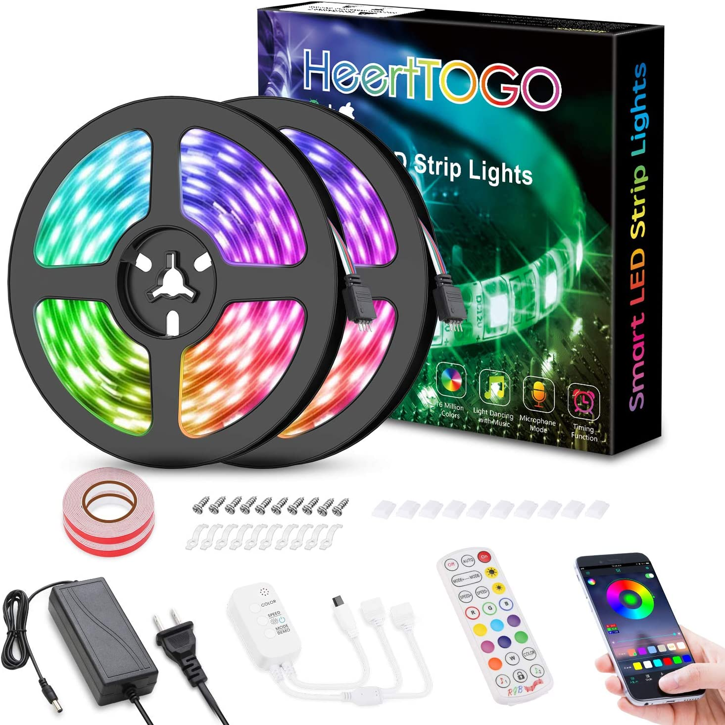 LED Strip Lights for Bedroom,HeertTOGO 32.8ft Bluetooth APP Control Music Sync Color Changing LED Lights 300 LEDs 5050 RGB Bluetooth LED Strip Lights for Bedroom Home TV Decorations